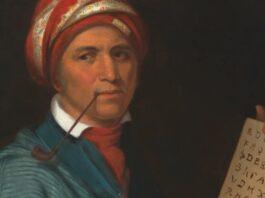 Sequoyah Painting Displaying Cherokee Language