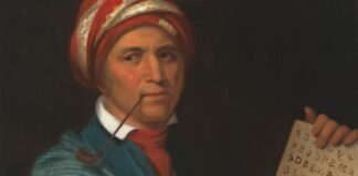Sequoyah Painting Displaying Cherokee Language